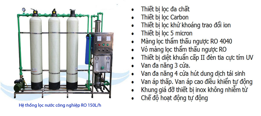 He thong loc nuoc cong nghiep RO 150L/h